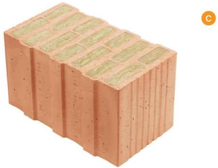Pustak ceramiczny: poryzowany wypełniony wełną mineralną, do murowania na sucho 44 × 24,8 × 24,9 cm