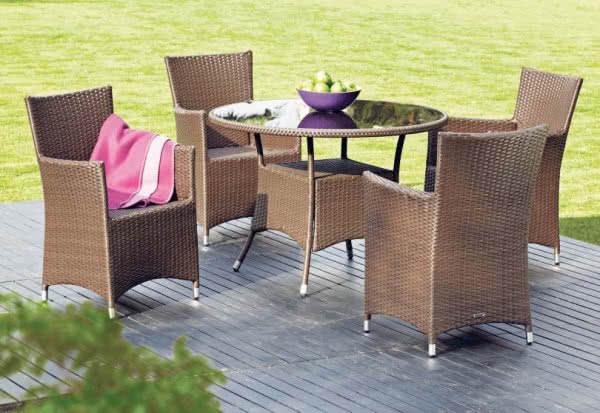 Luksusowe meble ogrodowe wykonane ze stali i ręcznie plecionego