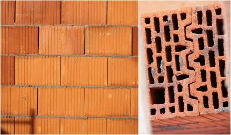 Większość pustaków i bloczków muruje się tylko na spoiny poziome (zdjęcie po lewej). Ich ścianki boczne są łączone na pióro i wpust, bez użycia zaprawy (zdjęcie po prawej)