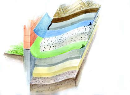 Układ warstw typowej podłogi na gruncie.