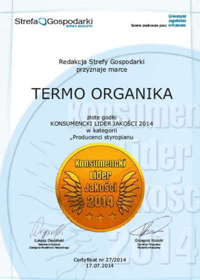 Konsumencki Lider Jakości dla Termo Organiki