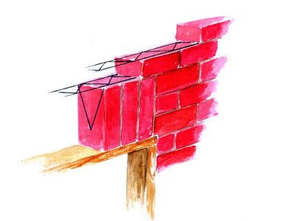 Typowy sposób wykonania nadproża w warstwie elewacyjnej ściany trójwarstwowej.