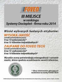 FOVEO TECH III miejsce w rankingu Systemy Dociepleń - firma roku 2014