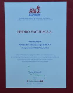 Hydro-Vacuum S.A. Ambasadorem Polskiej GospodarkiHydro-Vacuum S.A. Ambasadorem Polskiej Gospodarki